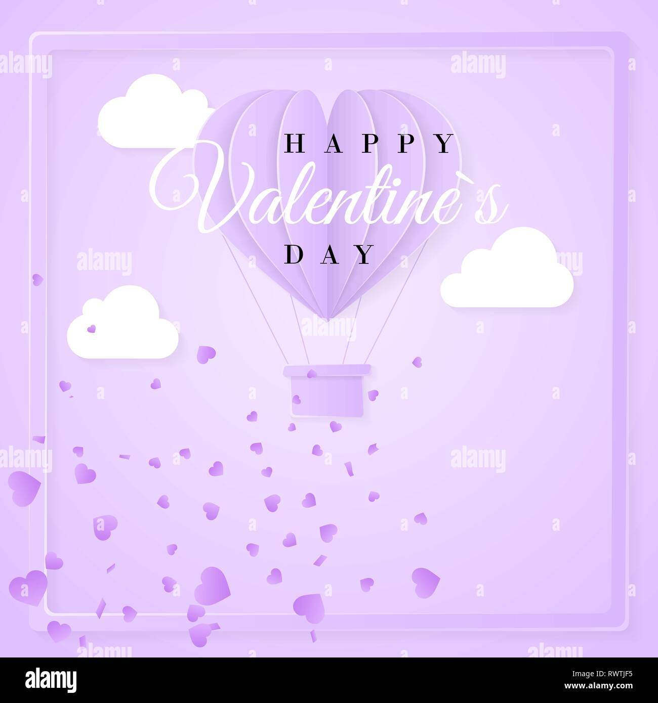 Happy Valentines Day Retro Invitation Card Template With