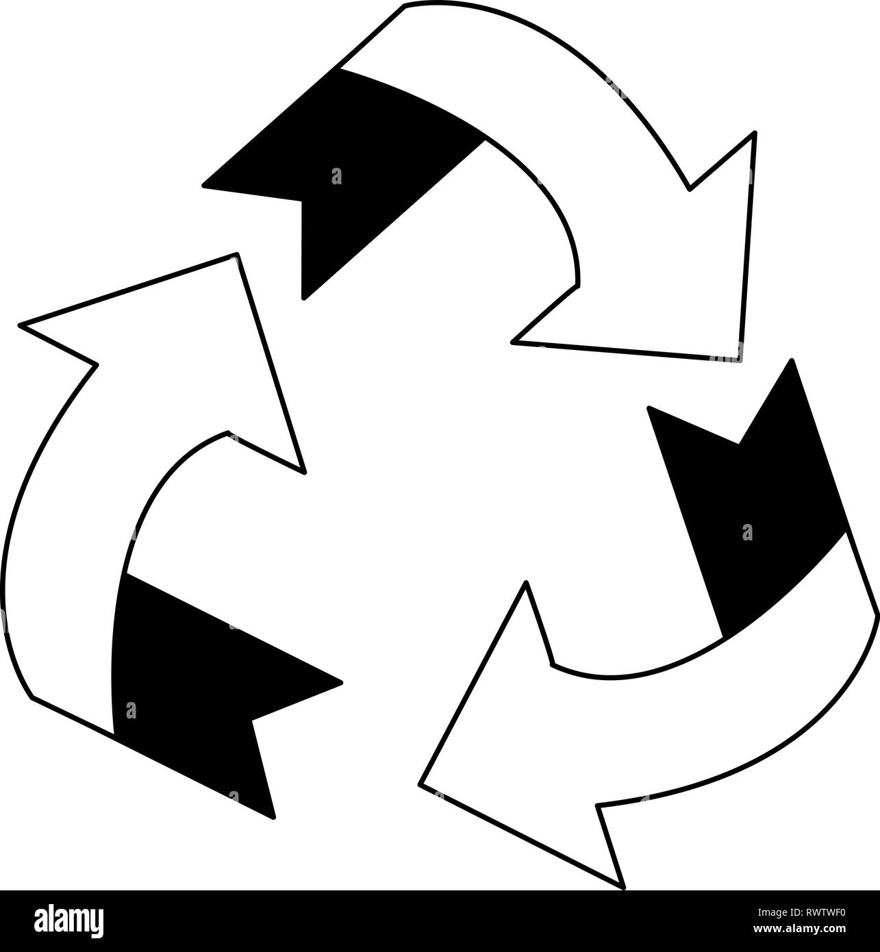 Recycle reduce reuse symbol in black and white - Stock Image