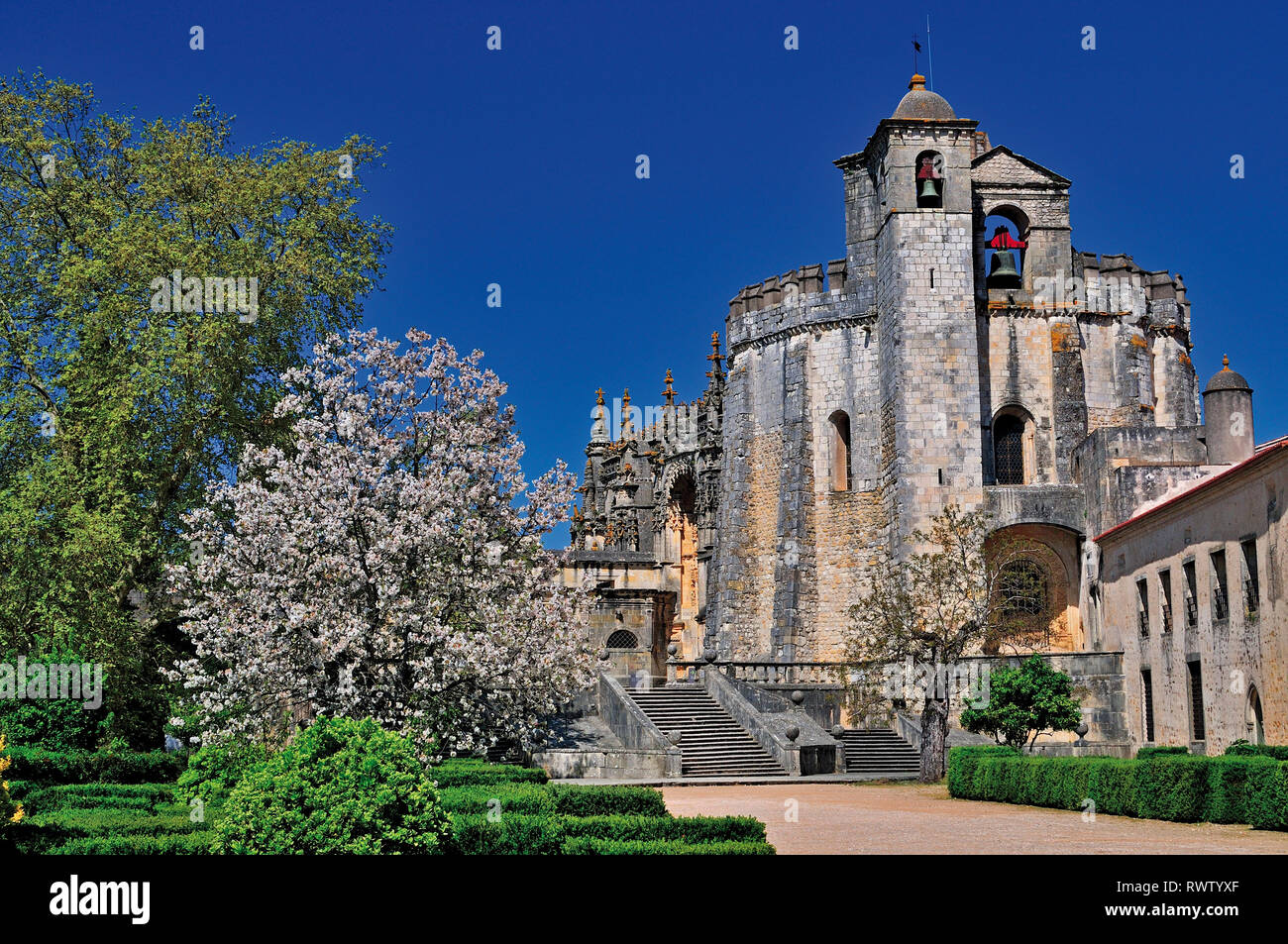 Outdoor view of middle-aged convent and templar castle in Tomar - Stock Image