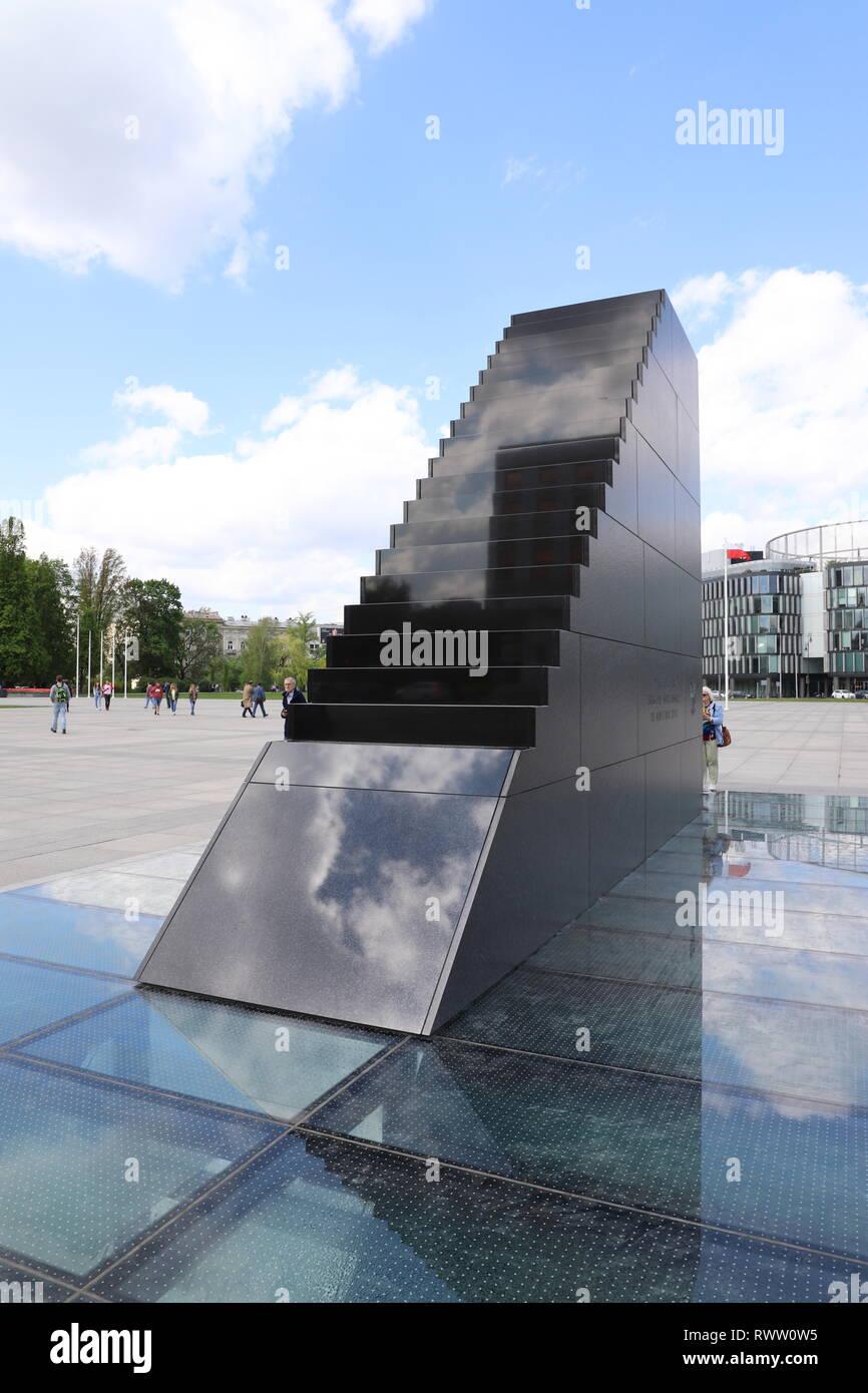 Smolensk Air Disaster Monument Warsaw Poland Warszawa - Stock Image