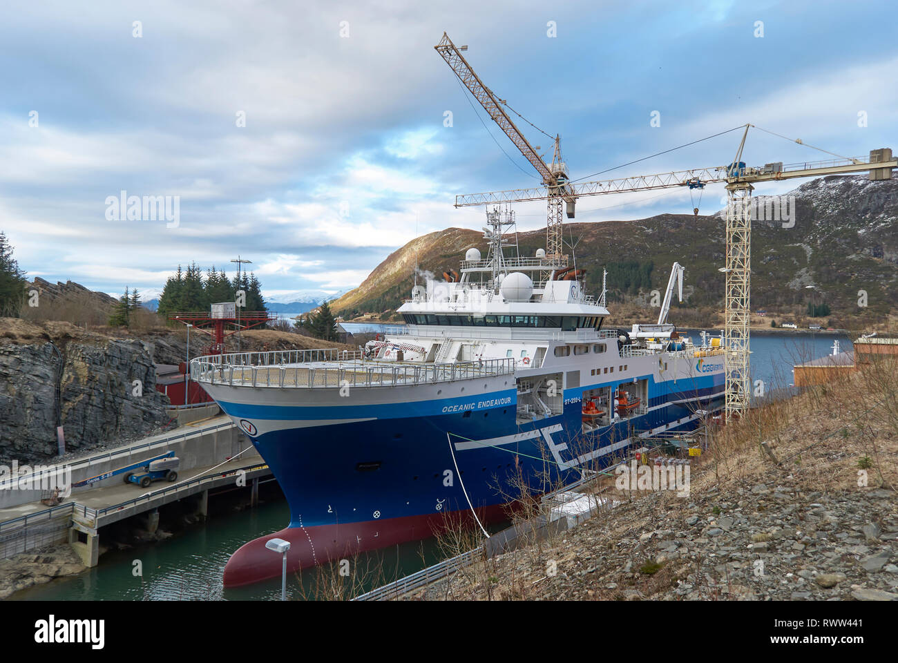 The Oceanic Endeavour sits in the flooded Dry Dock of the Batbygg Shipyard after its recent refit. Winter, Maloy, Norway - Stock Image