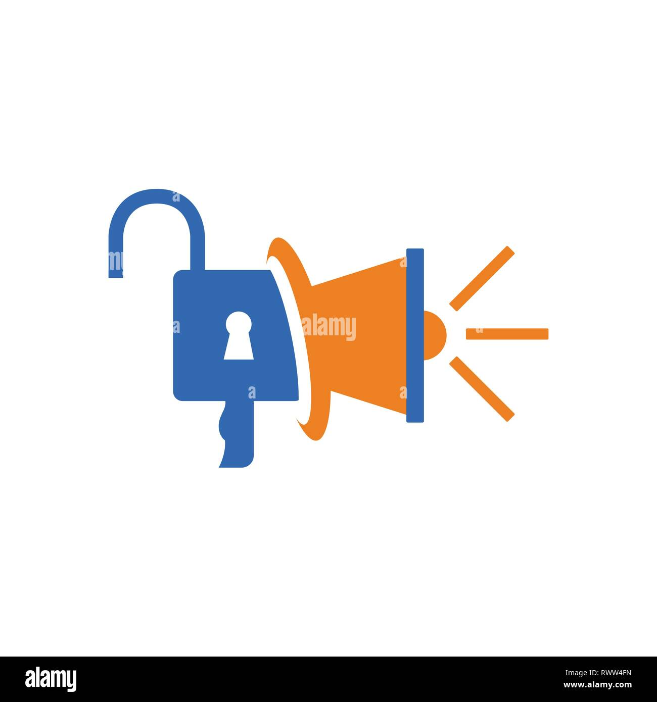Megaphone and padlock vector combinations for marketing logo concept and idea. - Stock Vector