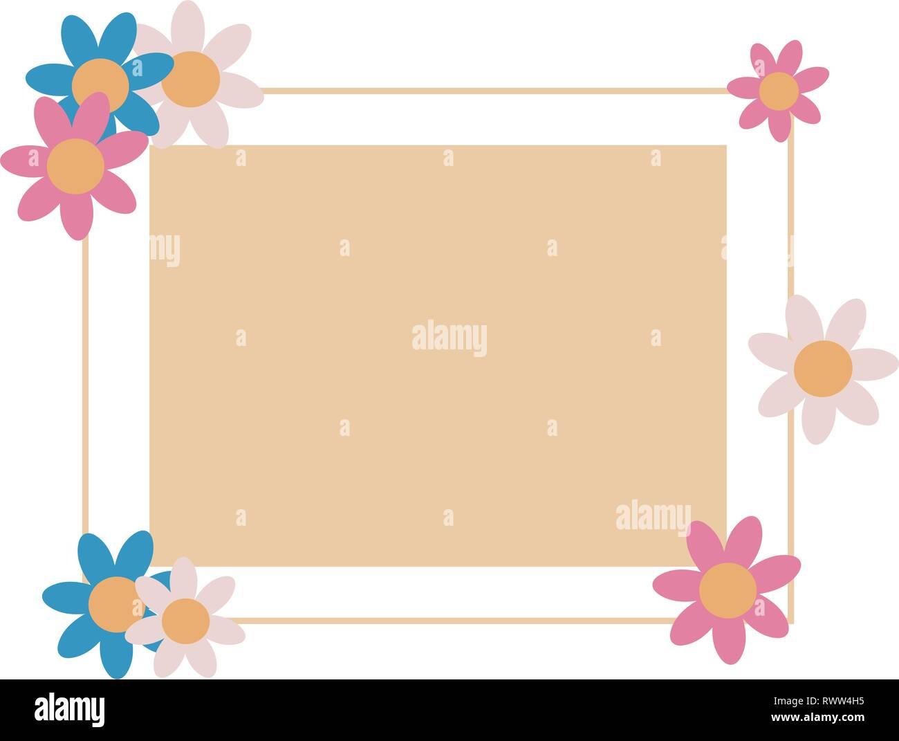 label empty frame flowers design vector illustration Stock