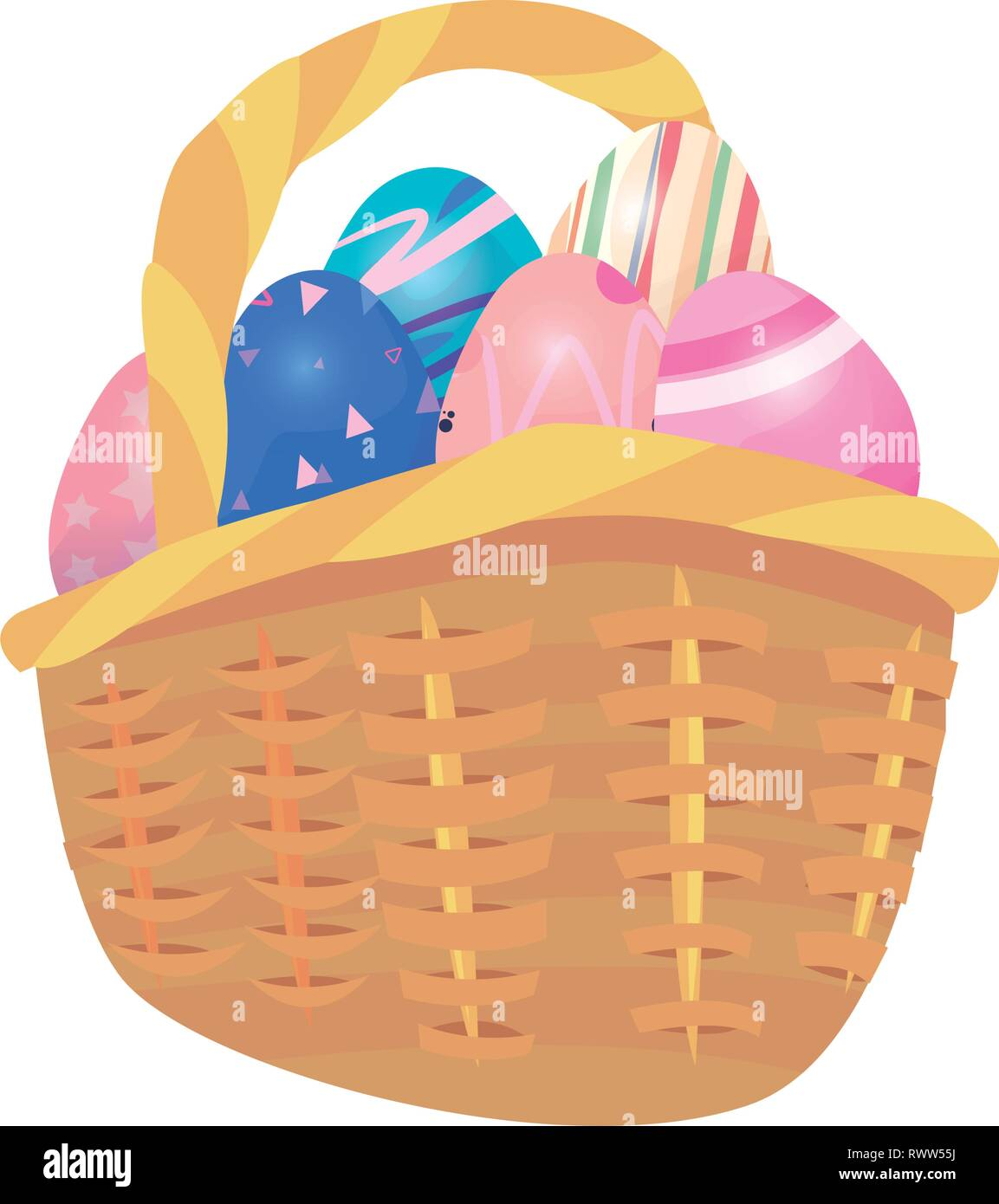 eggs basket decorating happy easter vector illustration - Stock Vector
