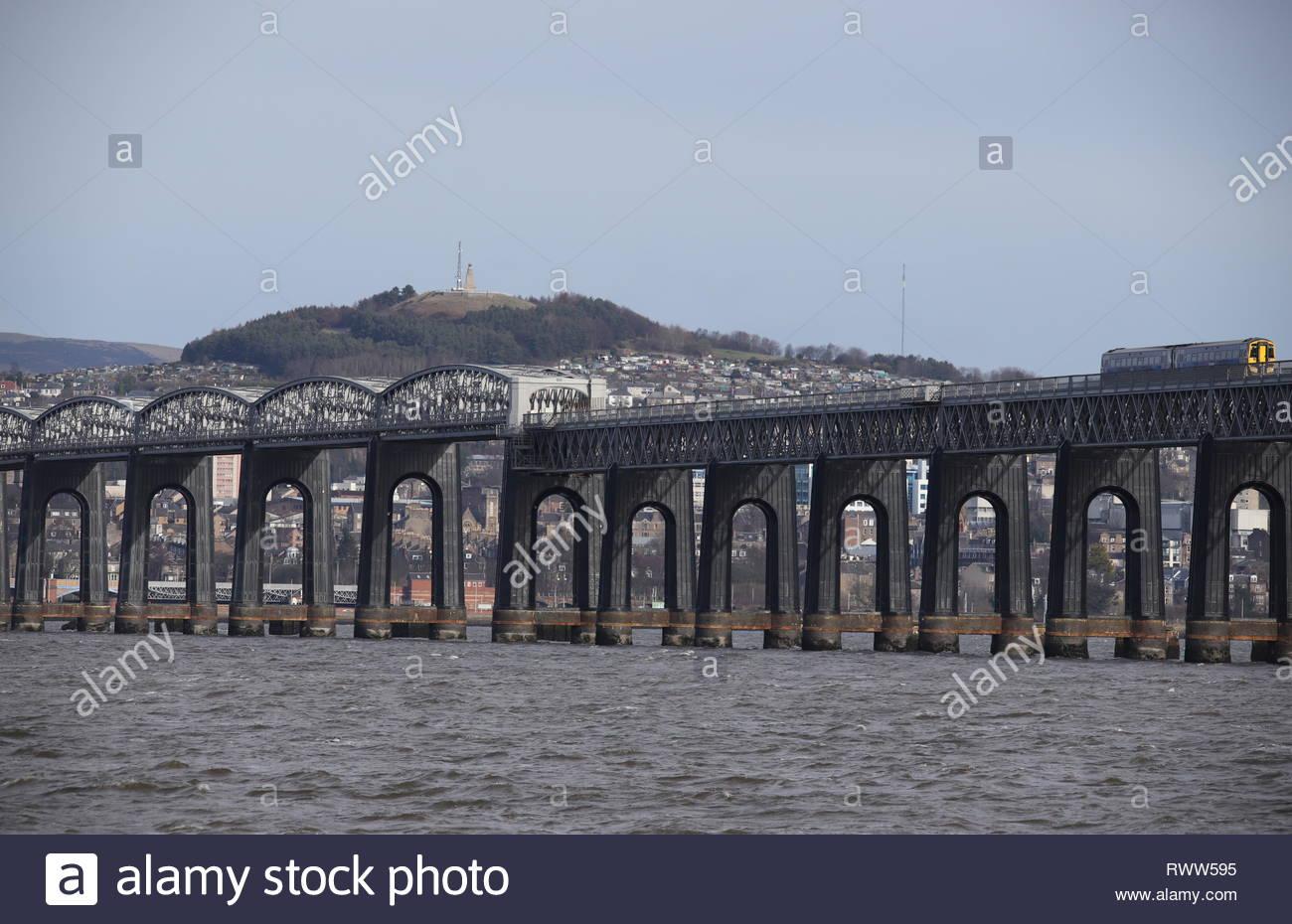 Train crossing Tay Rail Bridge Scotland  March  2019 Stock Photo