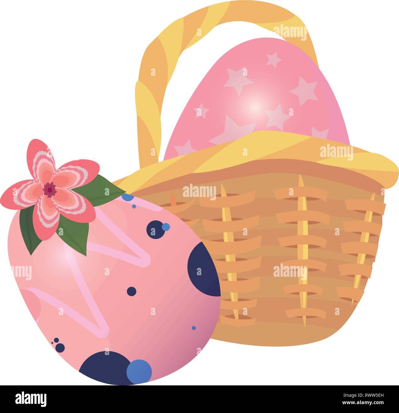 eggs basket flower decorating happy easter vector illustration - Stock Vector