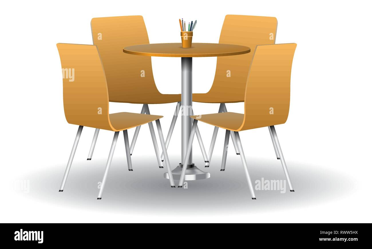 Round Table Orange.Orange Color Modern Round Table With Chairs Vector Illustration