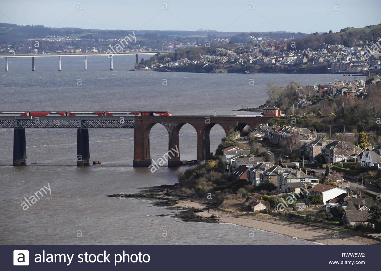 High speed LNER train crossing Tay Rail Bridge Scotland  March 2019 Stock Photo