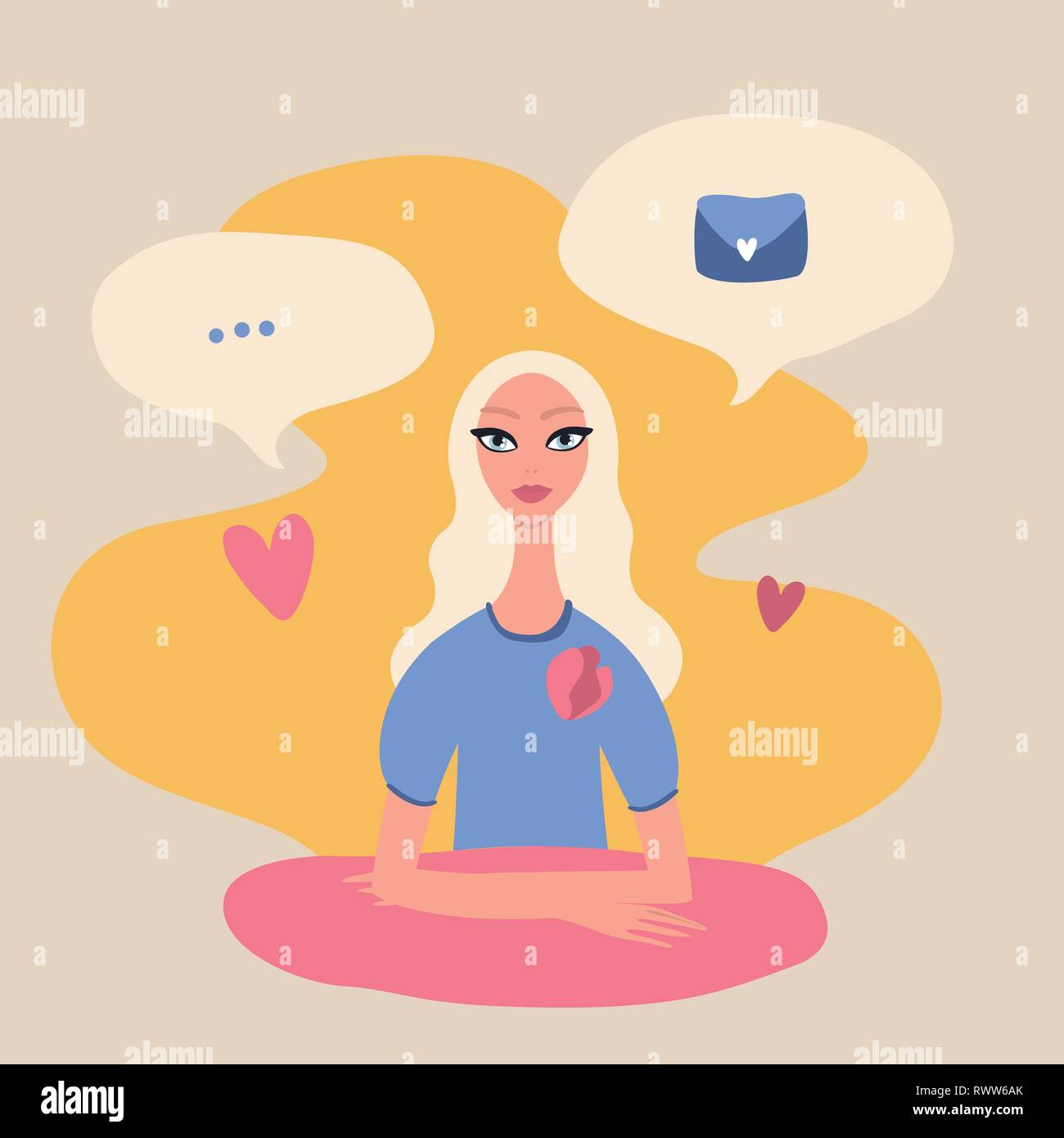 Young beautiful blond woman sitting at the table surrounded by speech bubbles - Stock Vector