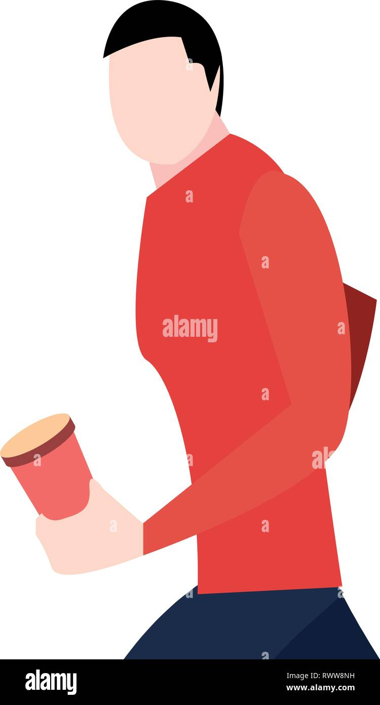 man walking with disposable cup in hand vector illustration vector illustration - Stock Vector