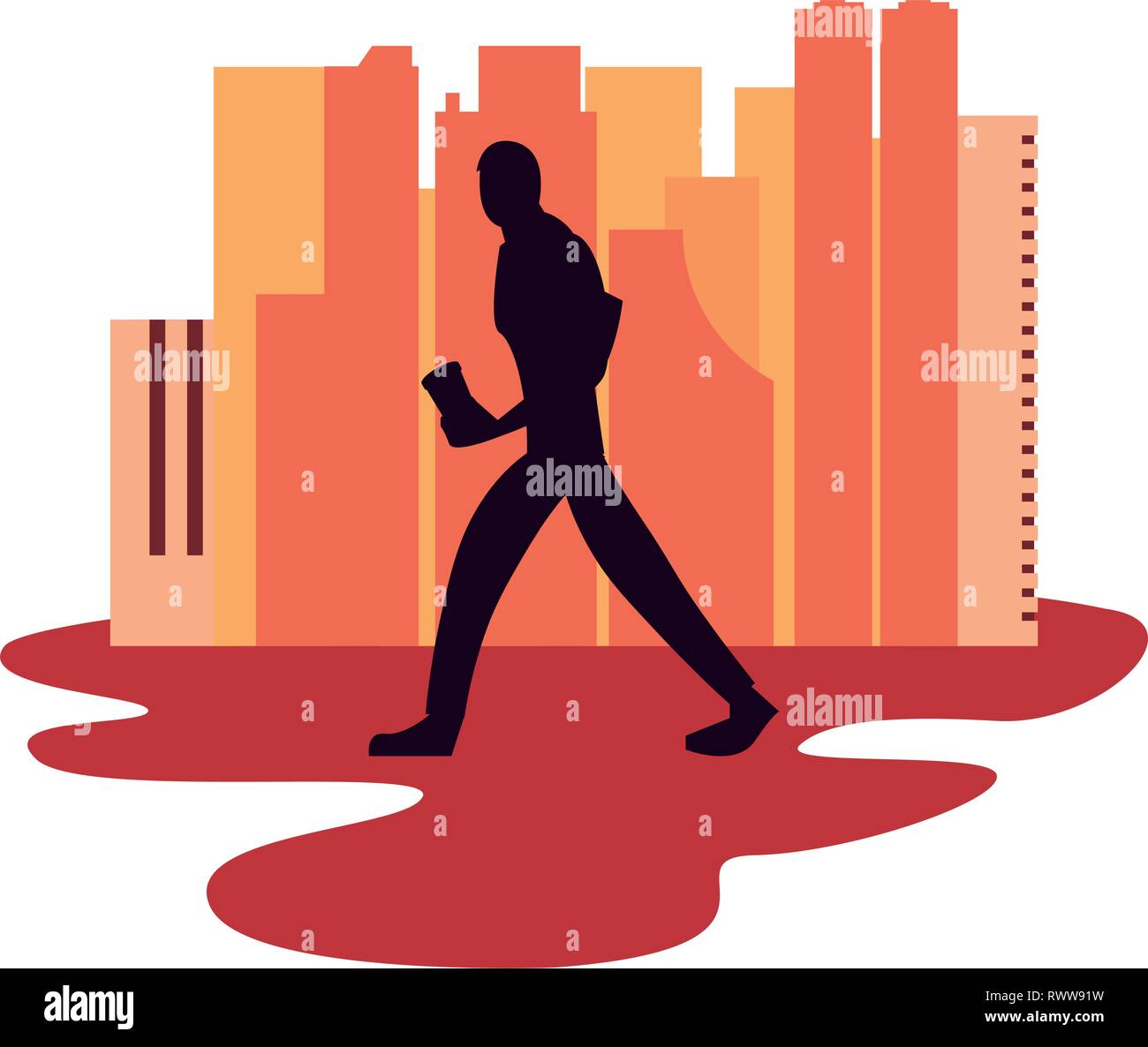 man silhouette walking with disposable cup in hand vector illustration vector illustration - Stock Vector