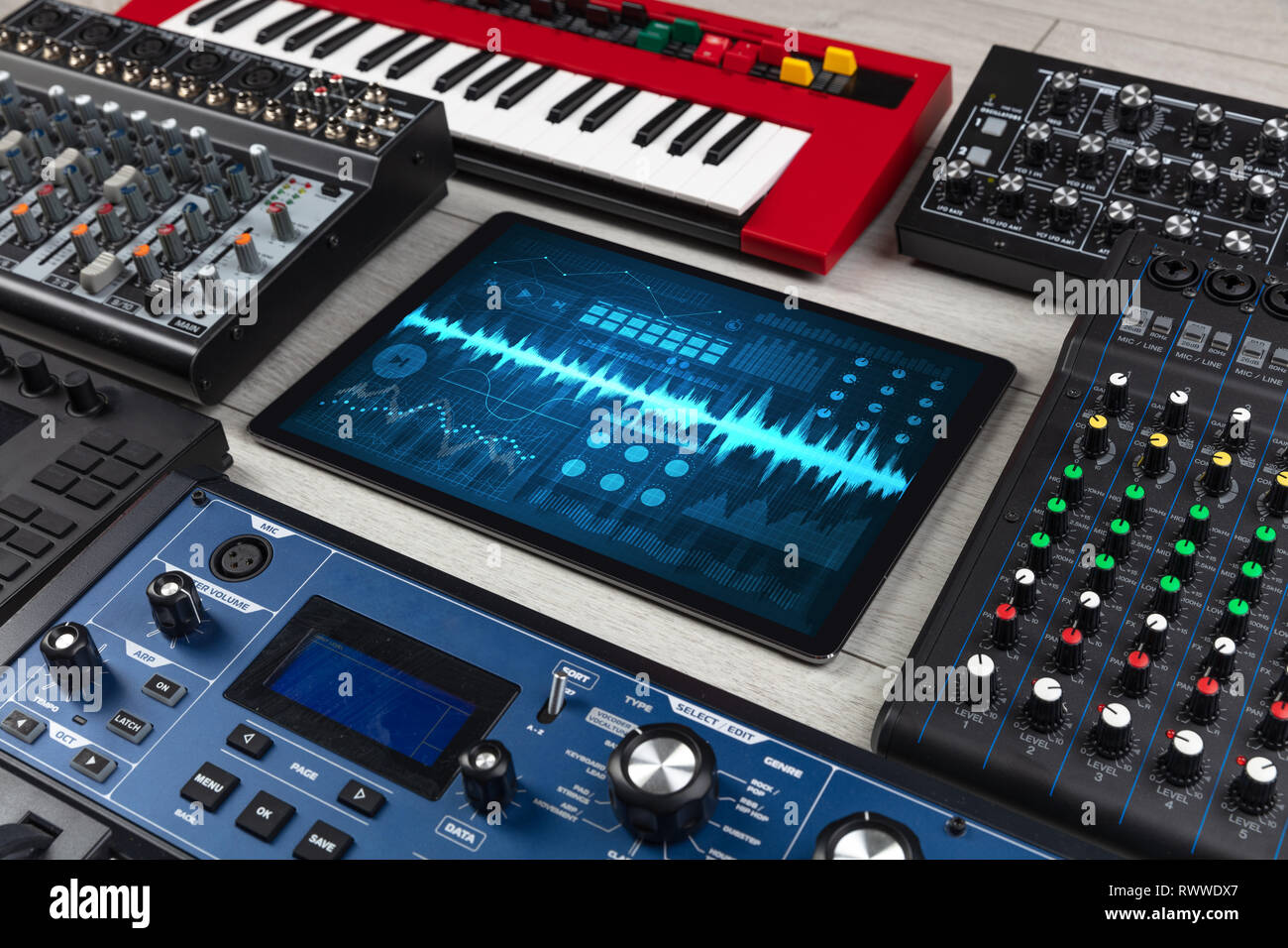 Music instruments and tablet with recording sound concept  - Stock Image