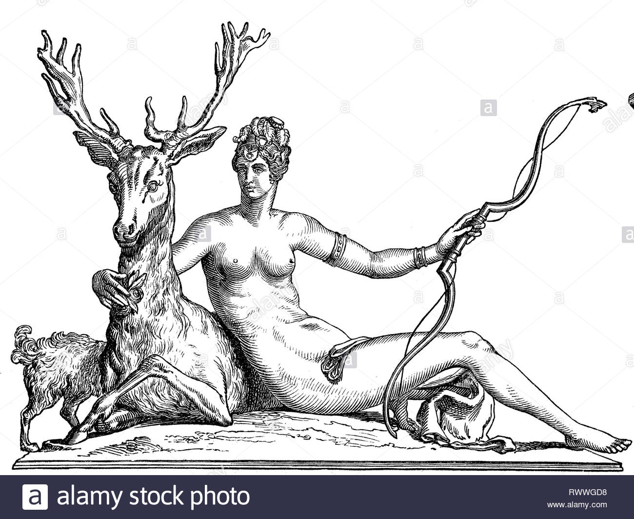 Digital improved reproduction, Diana, a Roman goddess of the hunt, the Moon, and nature, associated with wild animals and woodland, made by Jean Goujon, original woodprint from th 19th century - Stock Image