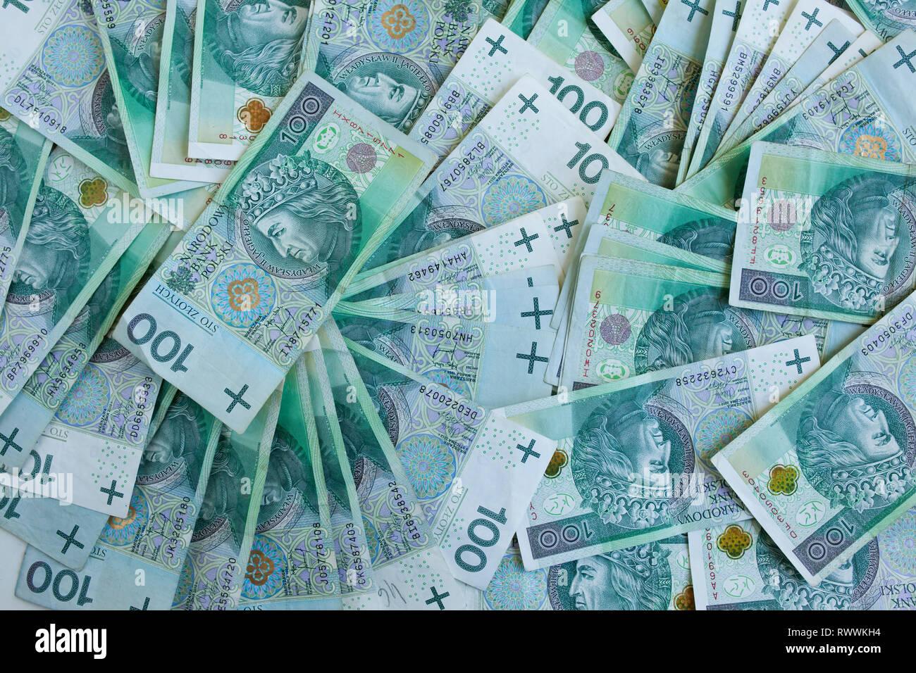 Lots of polish currency money zloty Stock Photo