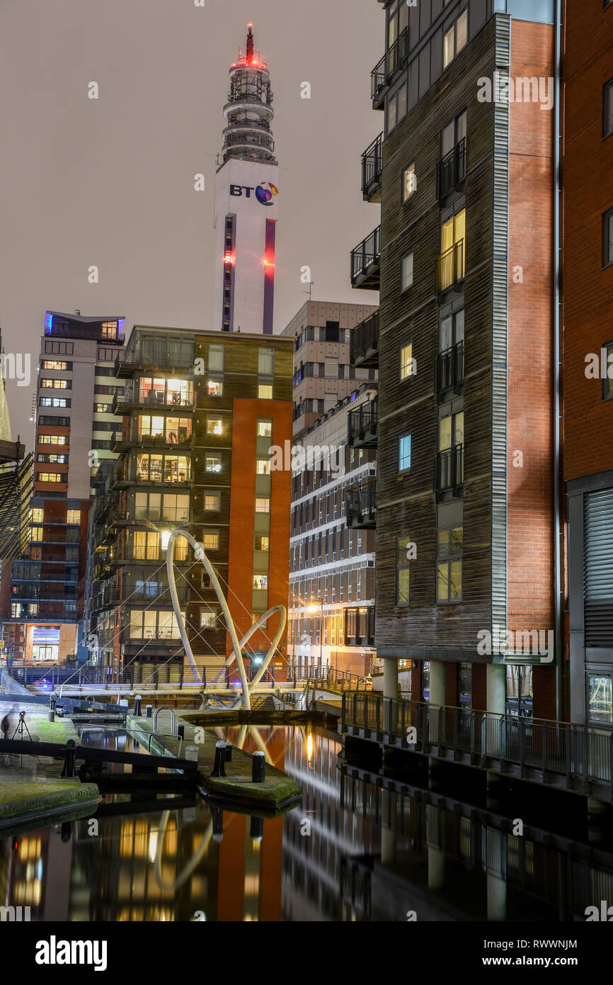 Birmingham Canals at Night Time Stock Photo