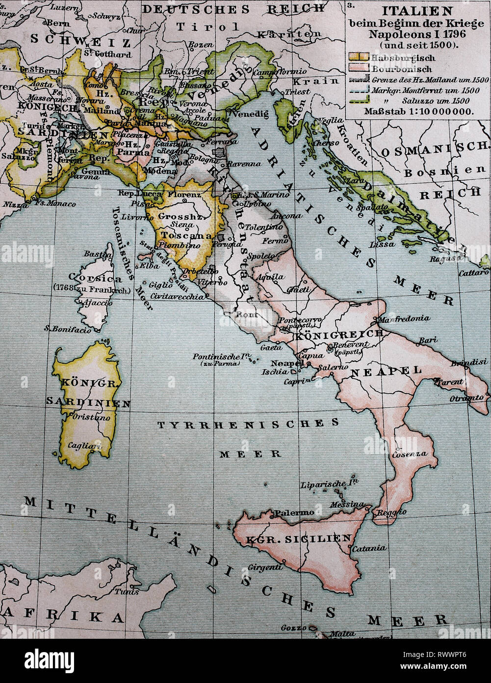 Digital improved reproduction, Map of Italy from 1500 until the beginning of the Napoleonic Wars, 1796, original woodprint from th 19th century - Stock Image