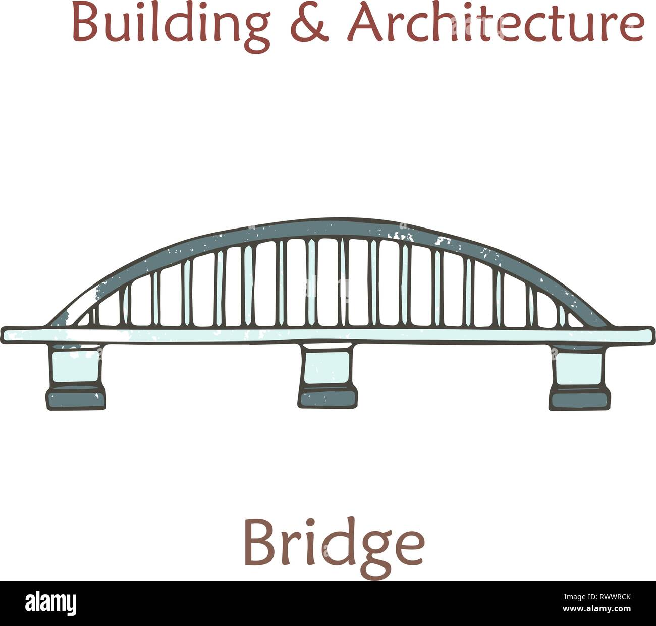 Vector isolated bridge. Cartoon arch bridge in retro style with grunge textures and rust effect. Hand drawn clip art. - Stock Image
