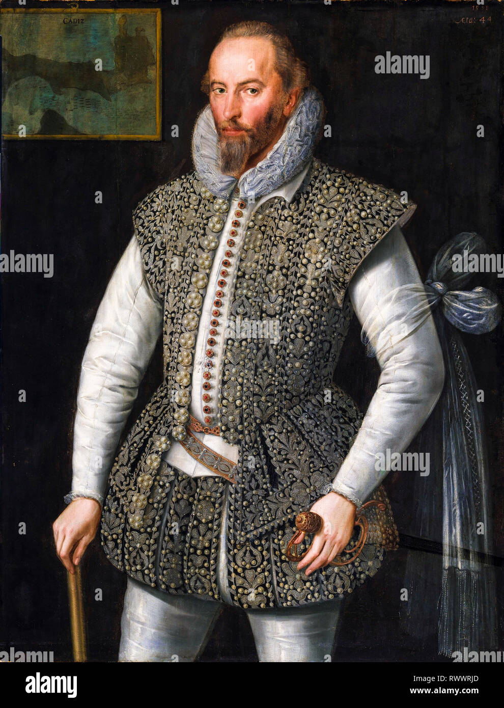 Sir Walter Raleigh (c. 1552-1618), portrait painting, 1598, William Segar - Stock Image