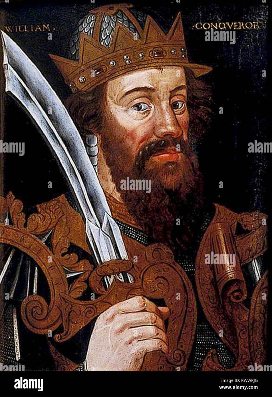 William the Conqueror (c. 1028-1087) portrait painting, original version of the popular 1620 painting, unknown artist, c. 1580 - Stock Image