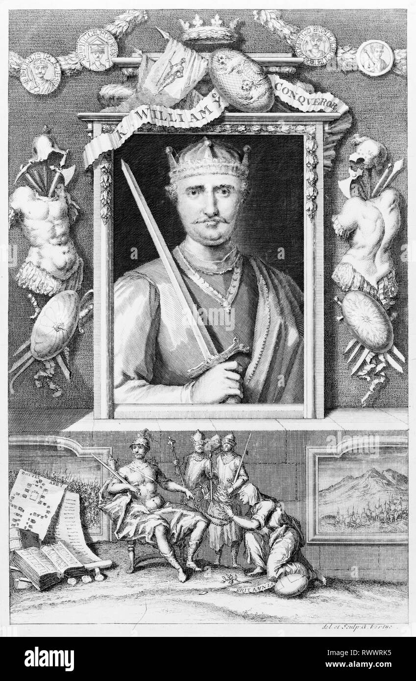 King William Ye Conqueror (c. 1028-1087), portrait engraving, 1732, by George Vertue - Stock Image