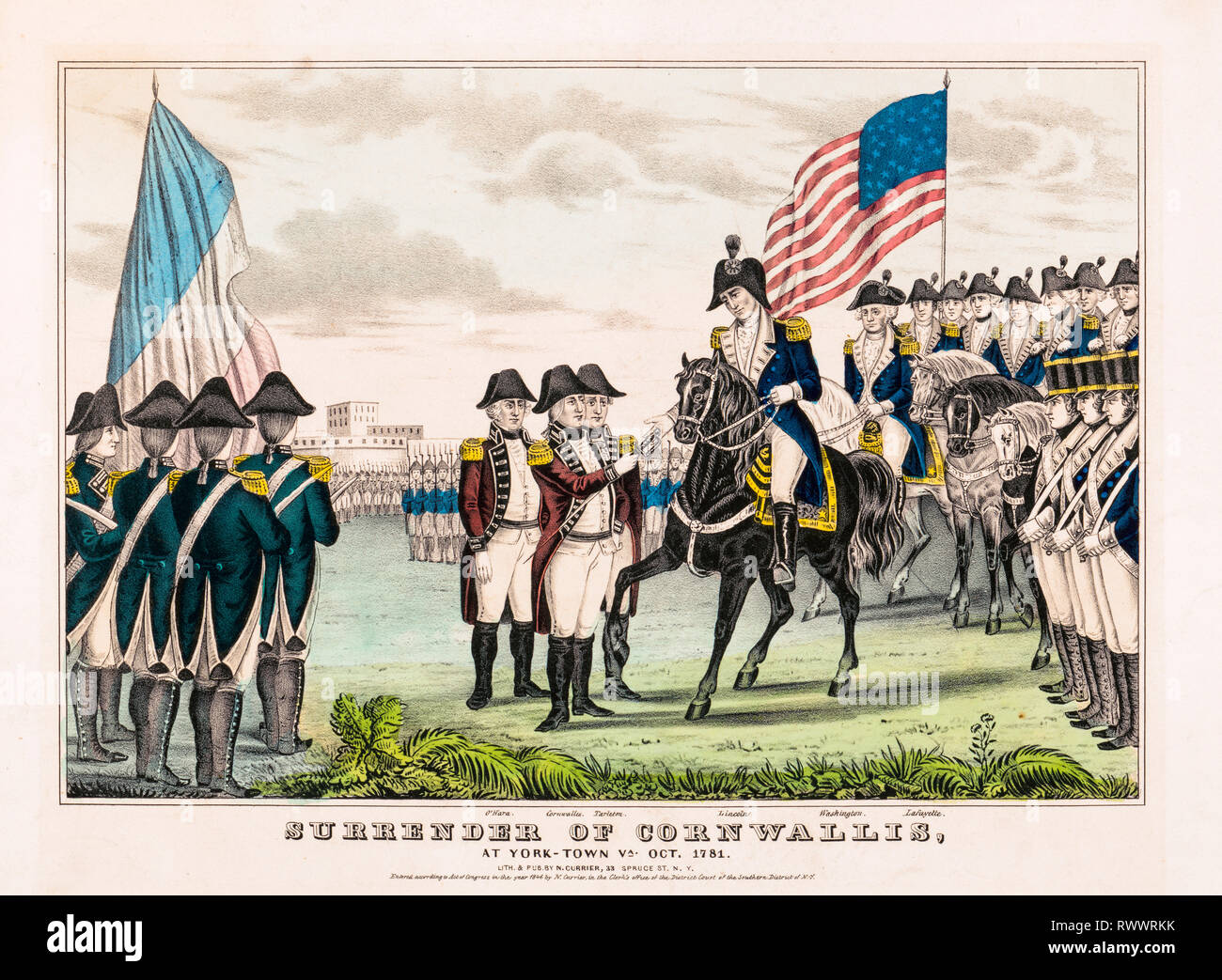 Surrender of Cornwallis at Yorktown Virginia, October 1781, hand coloured print, lithograph, 1846 - Stock Image