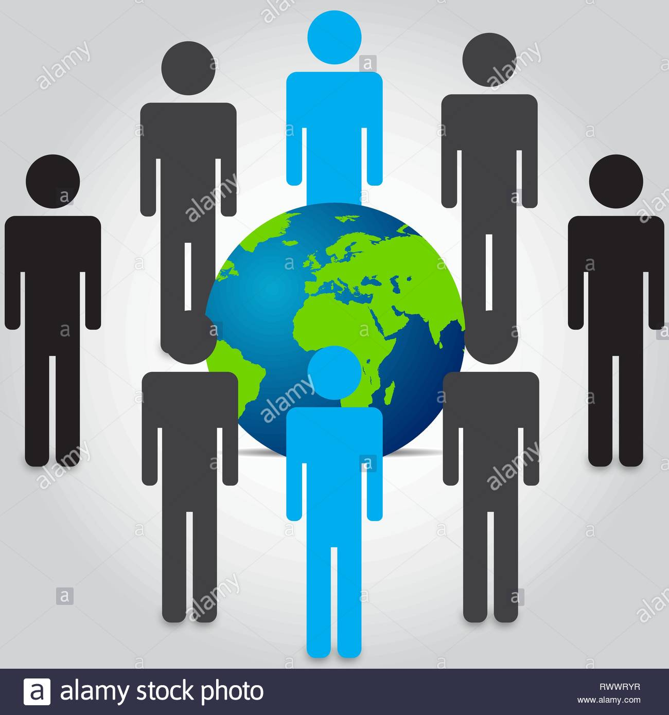 People are standing in the front and rear of the world map Vecto - Stock Vector