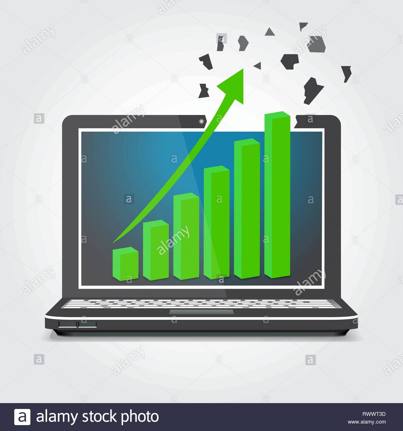 Laptop with graphics, the arrow splits the screen vector illustr - Stock Image