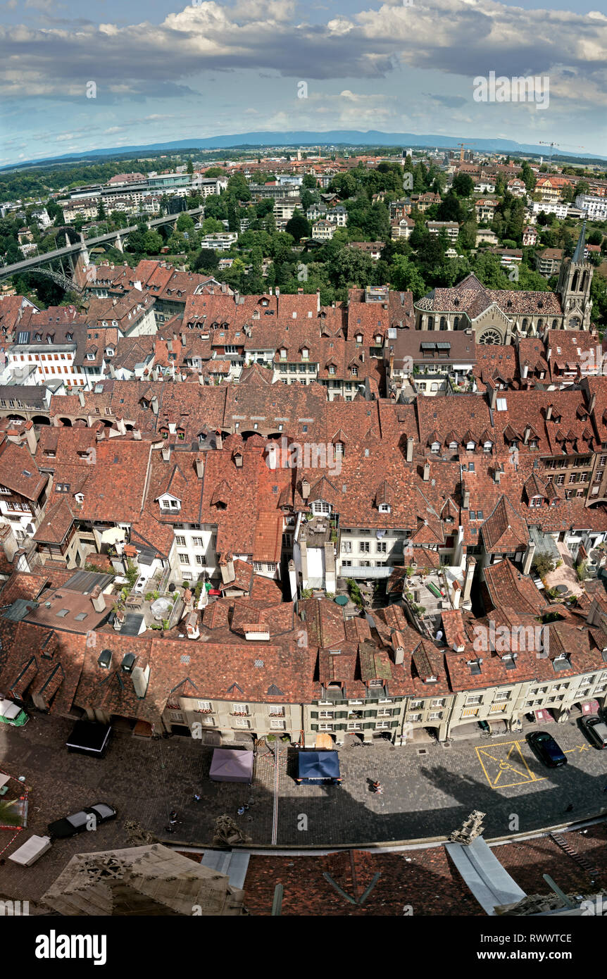 The rooftops and the river Aare which runs through the center of Bern, capital city of Switzerland. - Stock Image