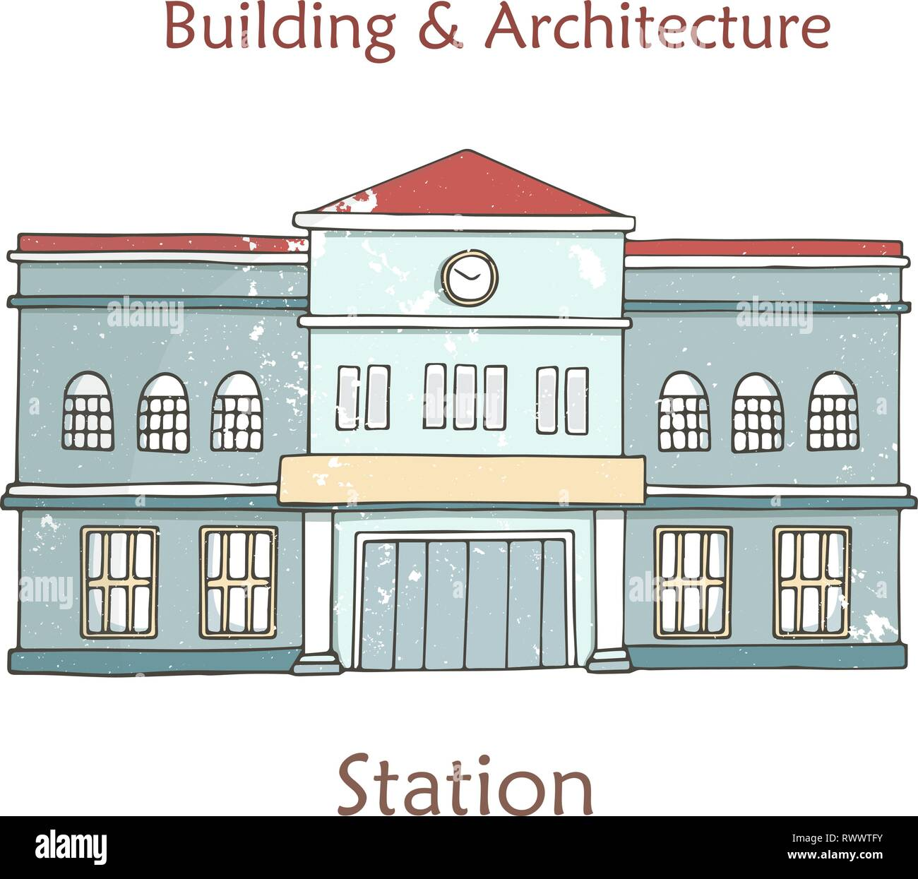 Vector railway station icon. Cartoon illustration in retro style with grunge textures and rust effect. Hand drawn clip art on white background. - Stock Vector