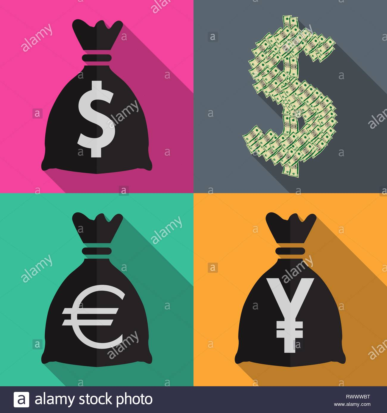 Four icons monetary currency in flat on different backgrounds ve - Stock Vector
