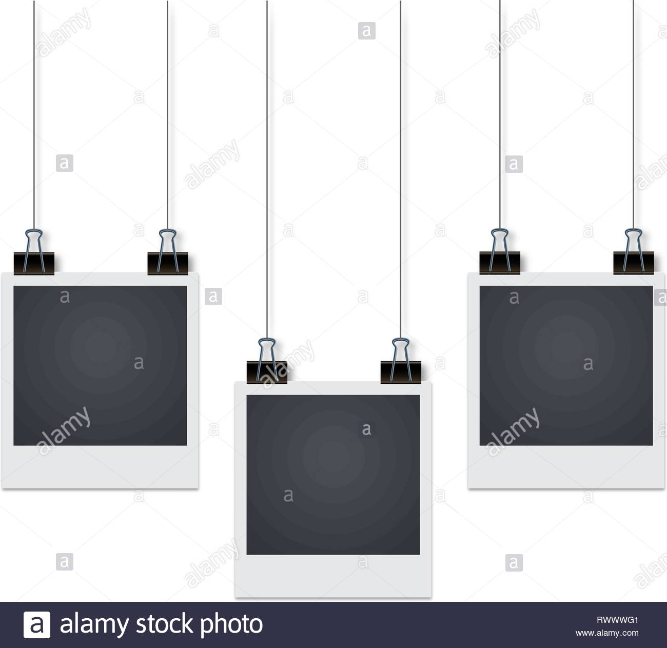 Three Photo Frames Hang On The Wall With Shadow Vector Illustrat