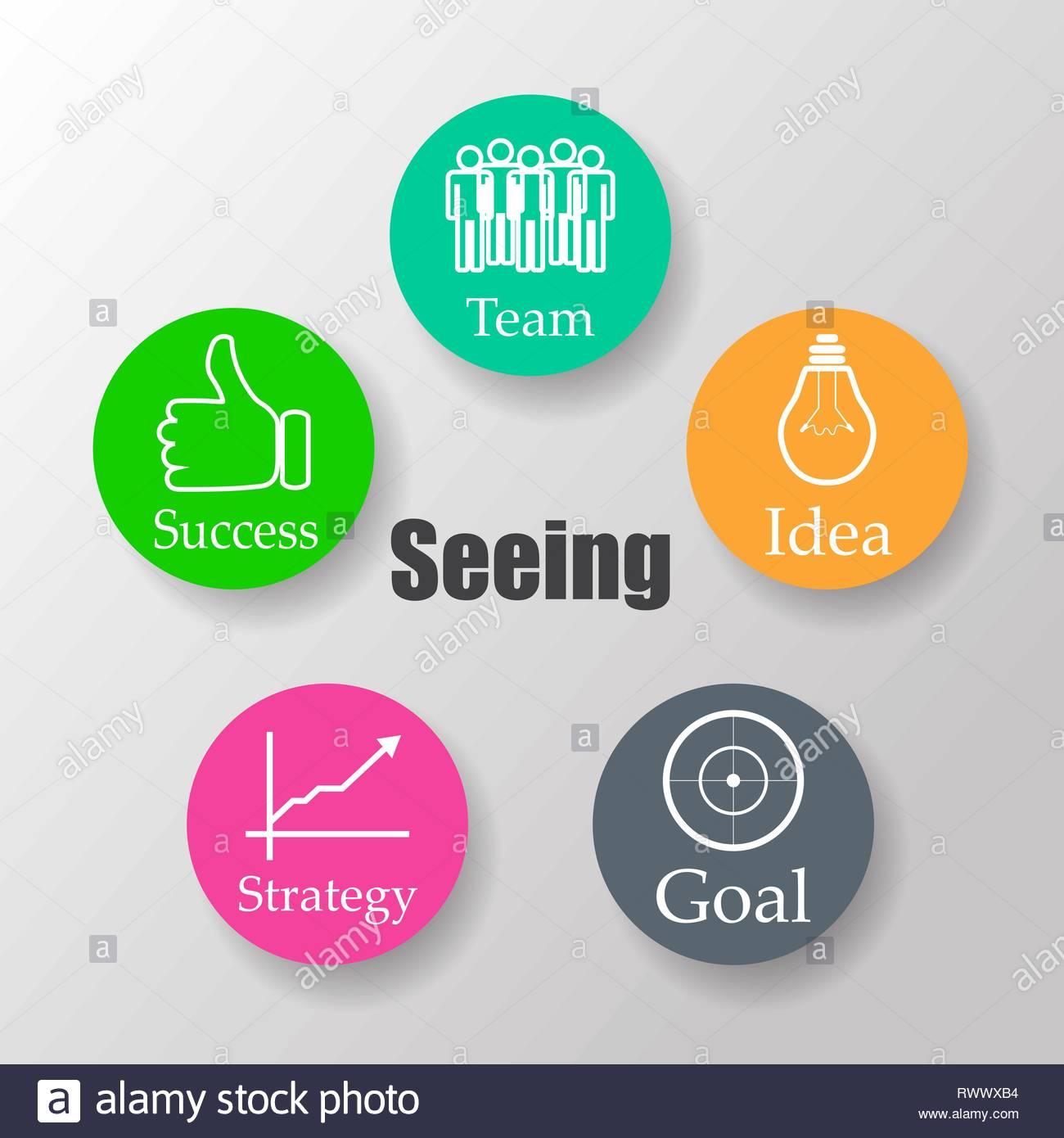 Diagram schema Buchan, team, idea, purpose, strategy, success - Stock Vector
