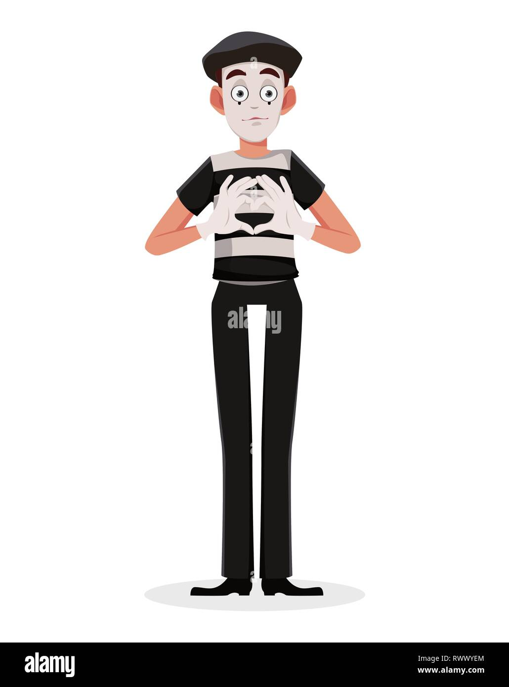 Mime cartoon character performing pantomime called Giving Heart. Flat style. Usable for April Fool's Day. Vector illustration isolated on white backgr - Stock Image