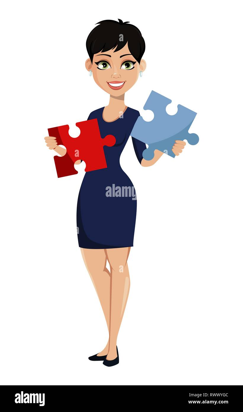 Happy Modern Business Woman With Short Haircut Beautiful Lady Businesswoman Holding Two Pieces Of Puzzle Attractive Cartoon Character For Any Purpos Stock Vector Image Art Alamy