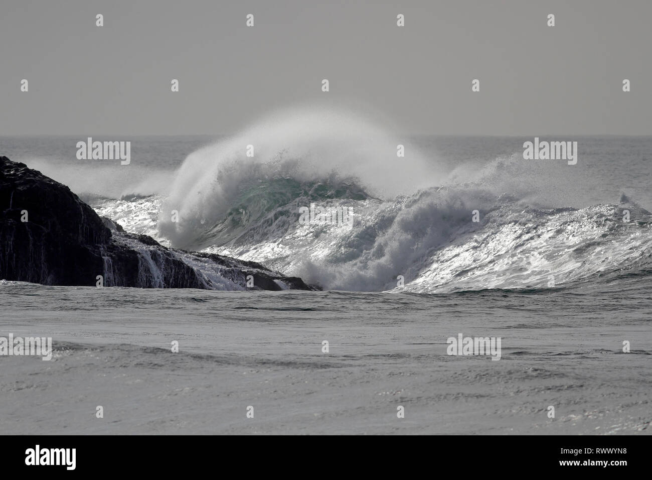 Sunny sea wave with wind spray. Northern portuguese coast. - Stock Image