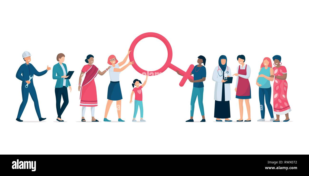 Diverse women standing together and supporting each other, they are holding the female symbol, feminism, women's right and women's day concept - Stock Image