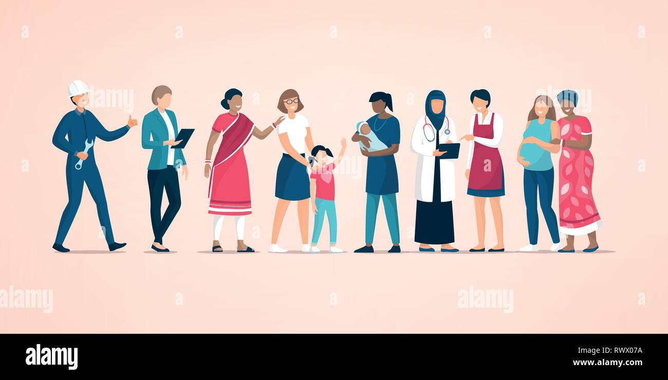 Diverse women standing together and supporting each other, feminism and women's day concept - Stock Image