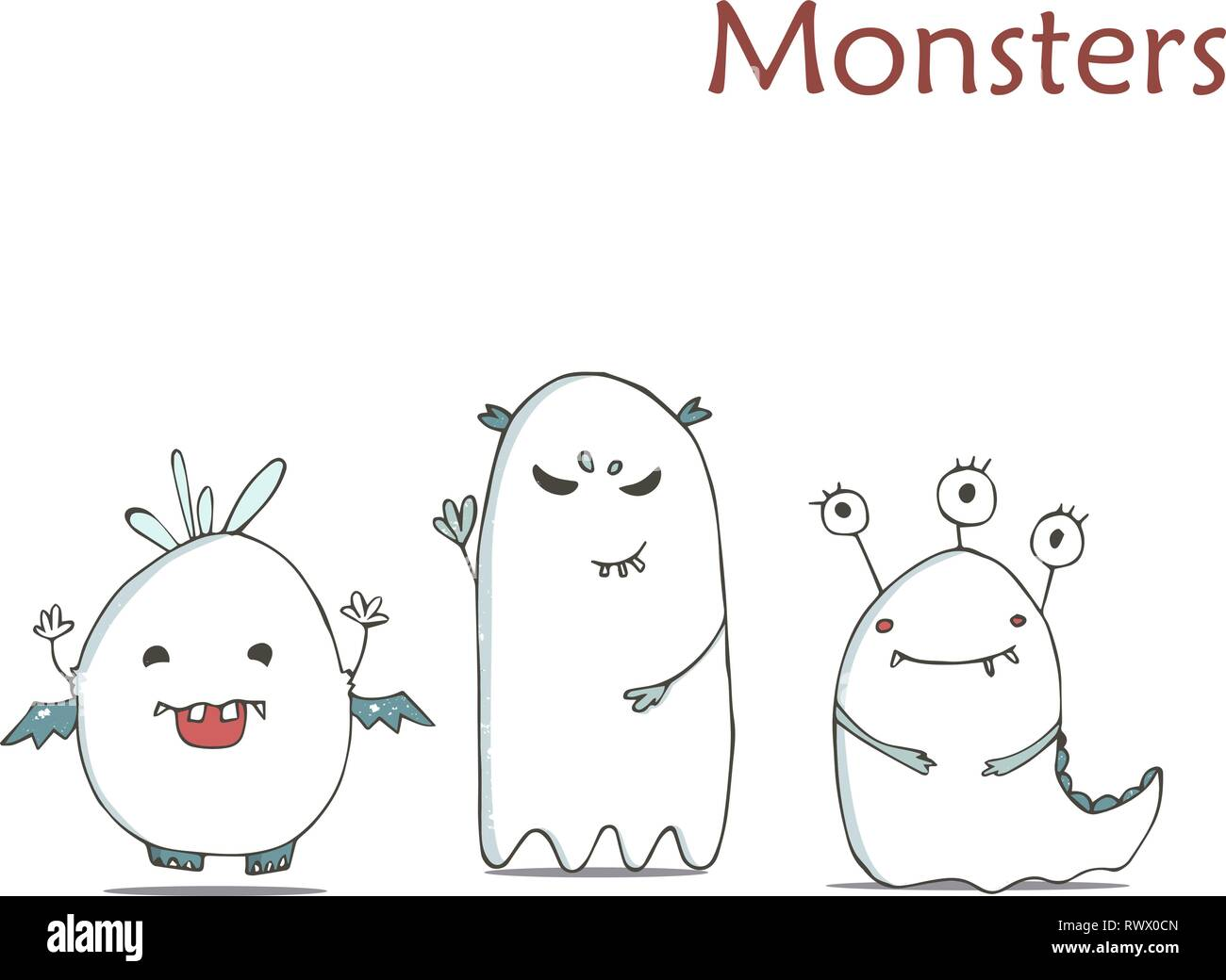 Set Of Cute Happy White Monster Hand Drawn Illustration Fluffy Cartoon Clip Art On White Background Stock Vector Image Art Alamy