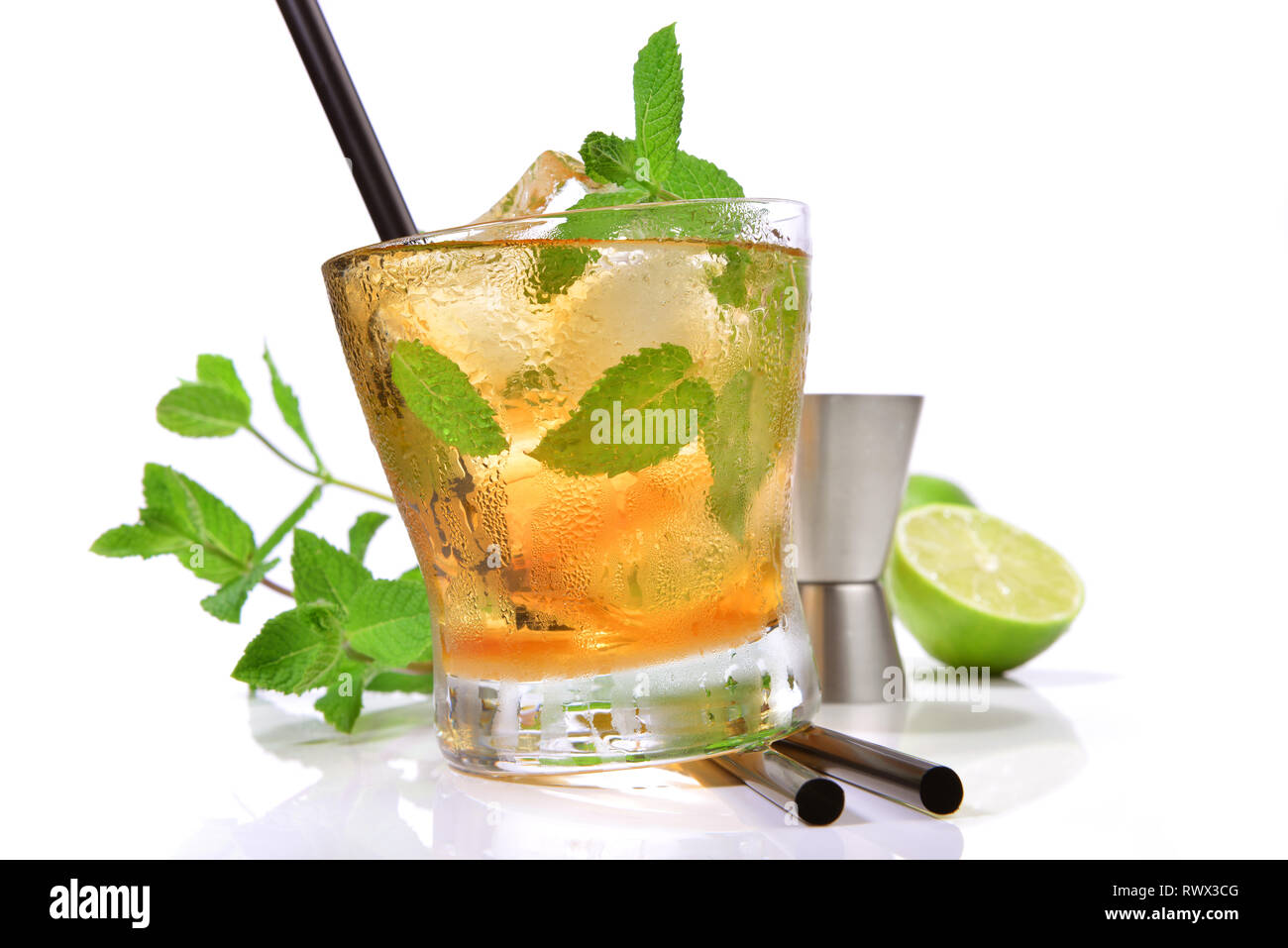 Mint Whisky Cocktail on white Background - Stock Image