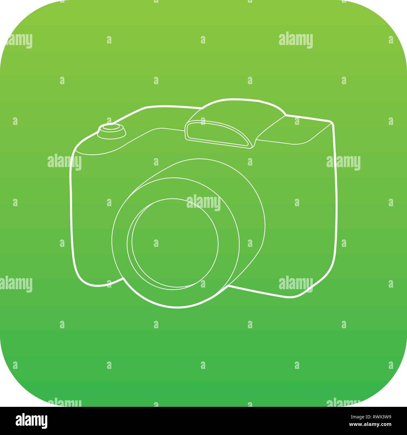 SLR camera icon green vector - Stock Vector