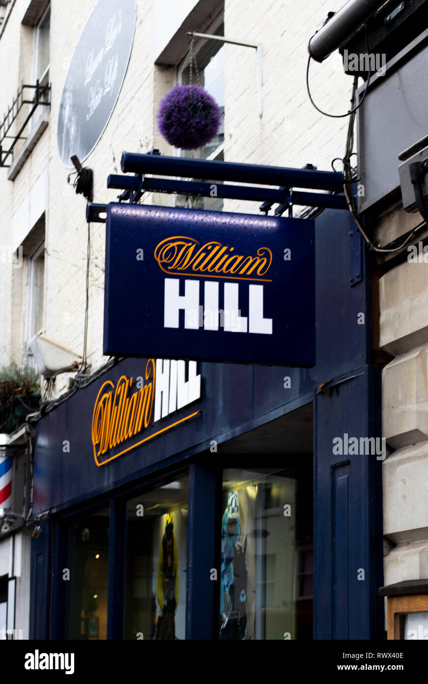 William Hill bookmakers sign, company founded by William Hill in 1934 at a time when gambling was illegal in Britain - Stock Image