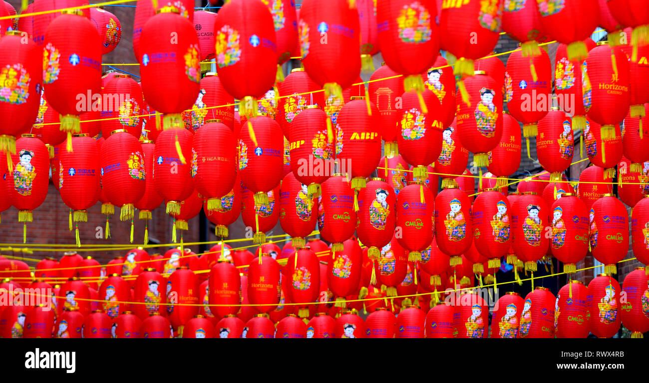 London, England, UK. Chinese lanterns hanging in Chinatown - Stock Image