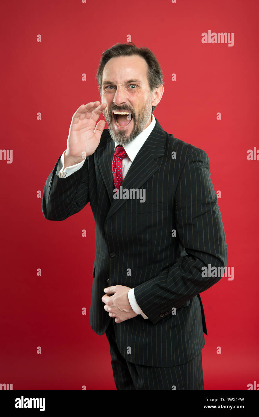 Loud announcement. Man shouting to you. Man try to persuade you in something. Mature charismatic speaker shouting. Public talk and art of persuasive. Oratory concept. Guy formal suit shouting face. - Stock Image