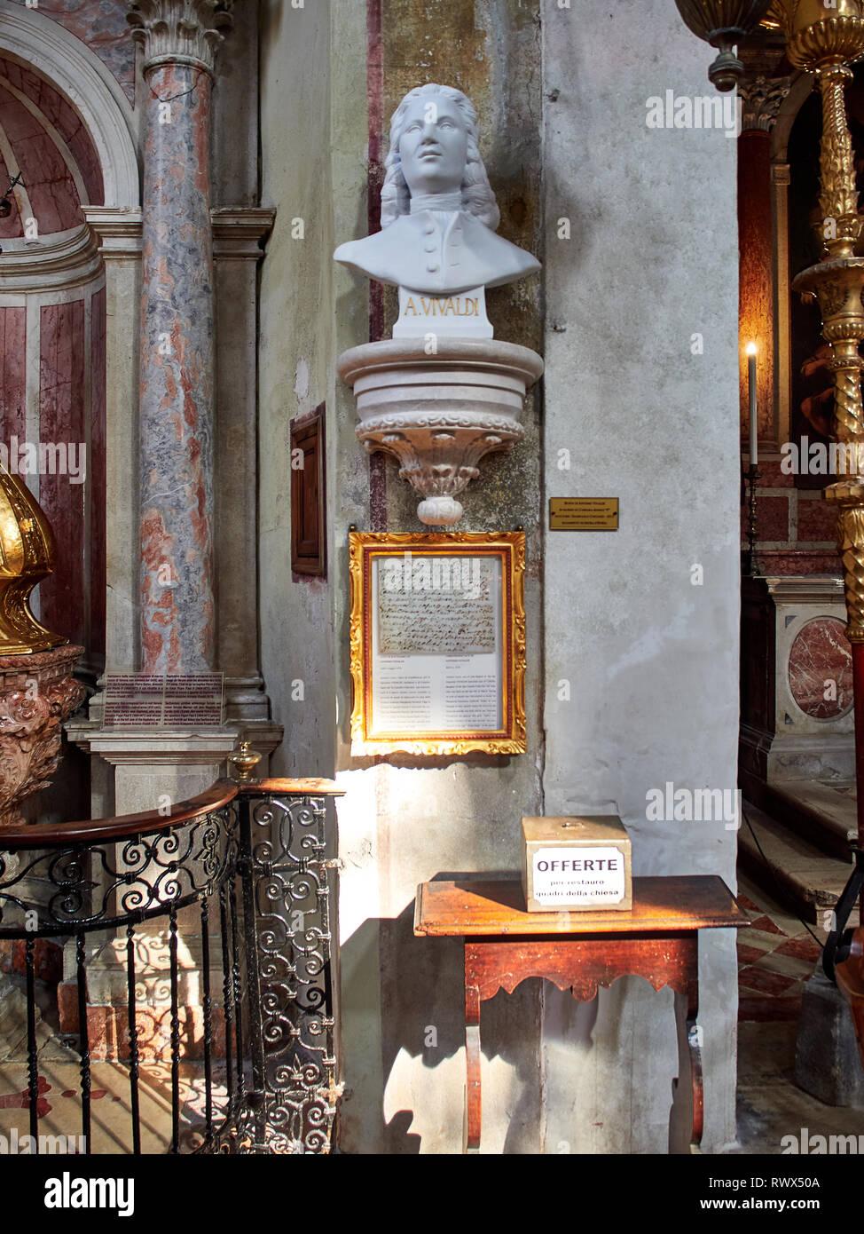 Venice, Italy - March 2, 2019 Bust of Vivaldi in Carrara Marble inside of San Giovanni in Bragora Church. - Stock Image