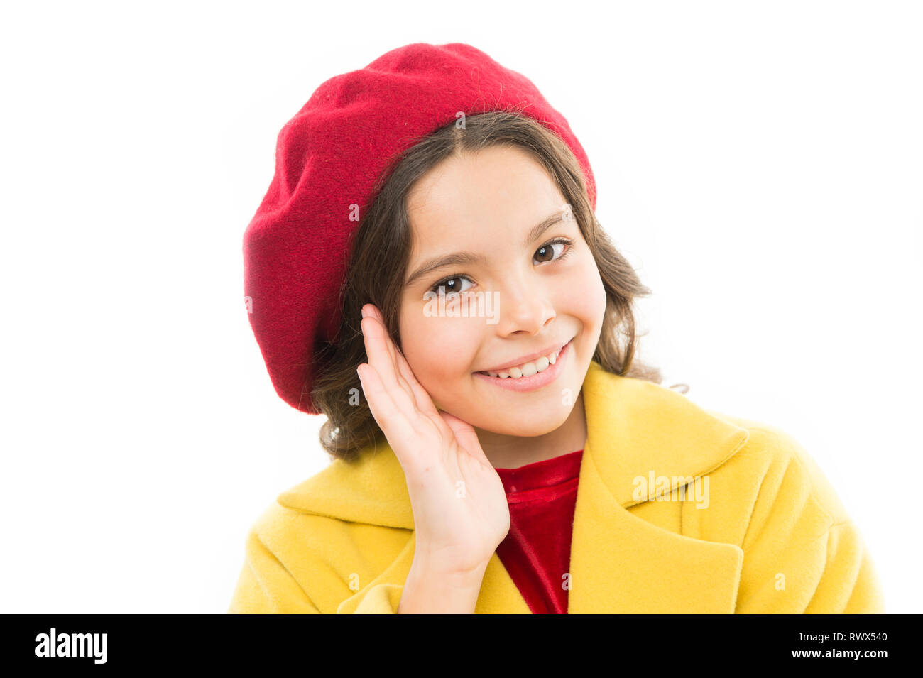 Dreamy mood. Fashionable beret accessory for female. Spring fashion. Fashion accessory for little kids. Dress up like fashion girl. Kid little cute girl smiling face posing in hat isolated on white. - Stock Image
