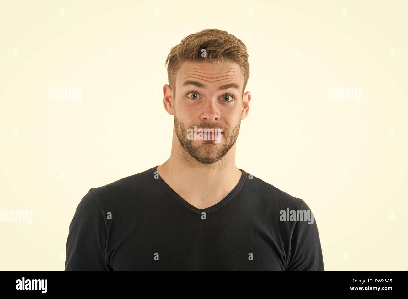 I did not expect that. Man with bristle surprised face isolated white background. Pleasant surprise concept. Man with beard unshaven guy looks handsome good mood. Guy happy surprised. - Stock Image
