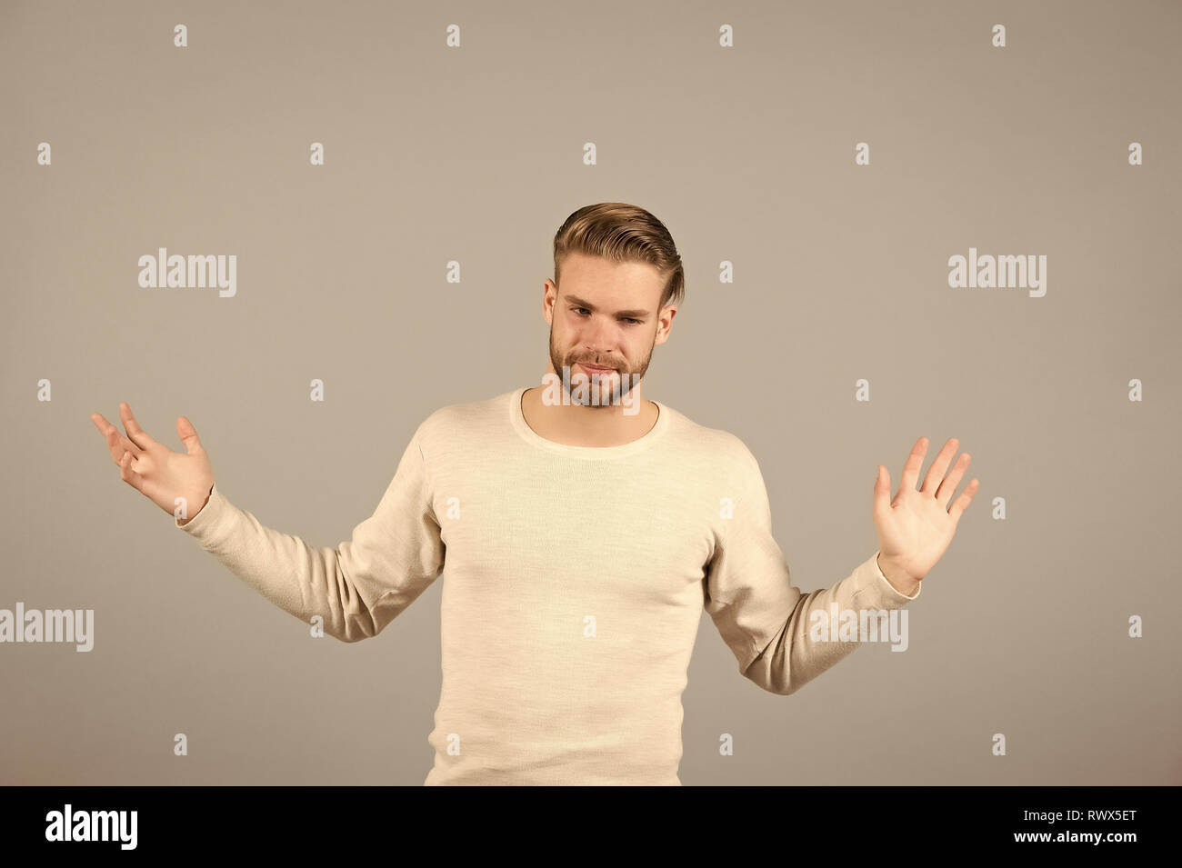 I am fed up. Just leave me alone. Man tired hopeless handsome unshaven stylish macho, grey background. Man fed up with life problems. Guy unlucky hopeless sick of problems give up. - Stock Image