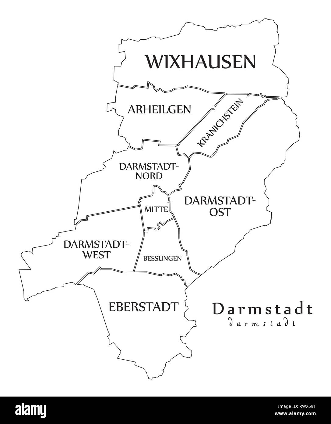 Outline Map Of Germany.Modern City Map Darmstadt City Of Germany With Boroughs And Titles