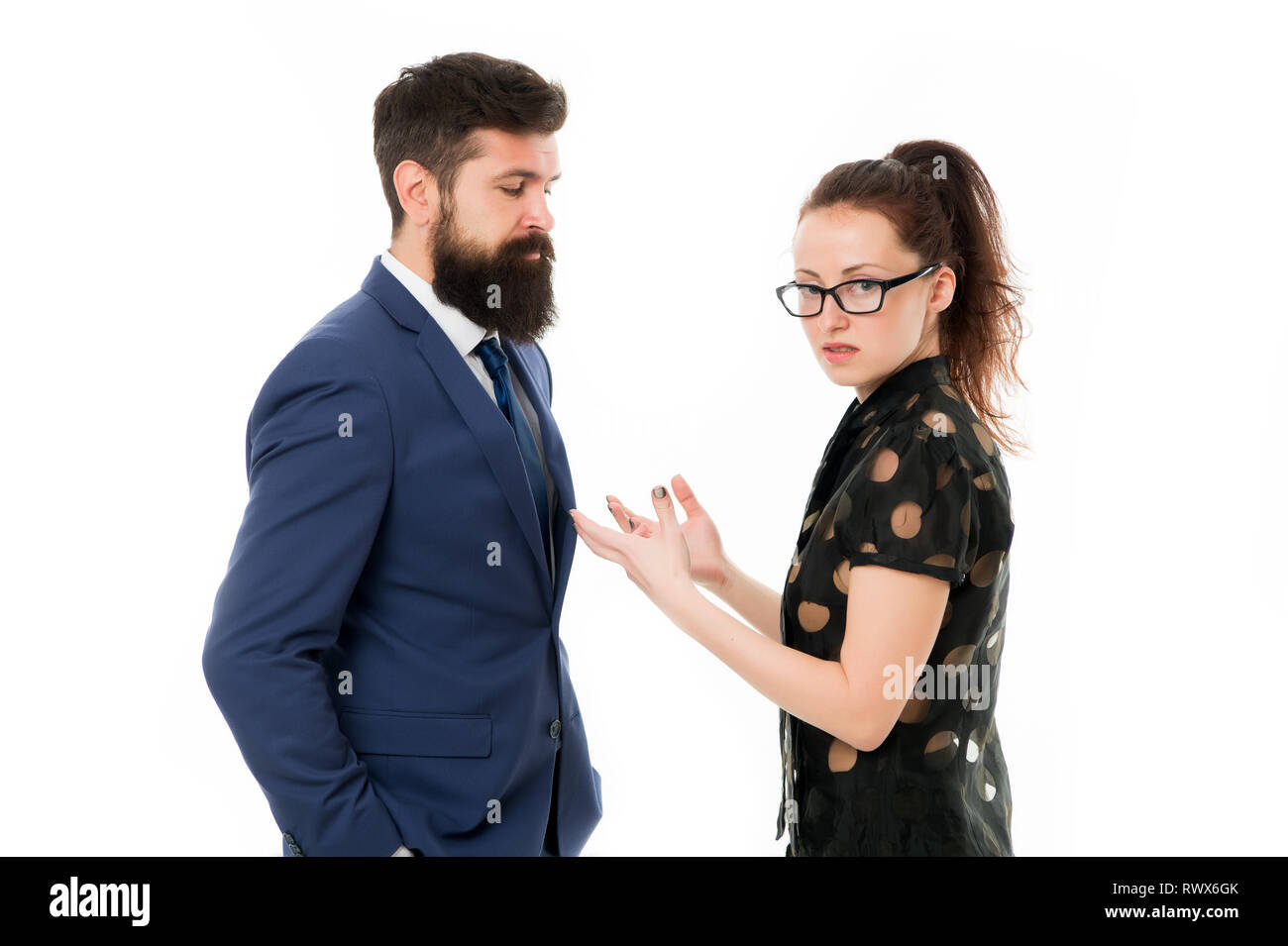 couple conflict and dispute. misunderstanding at work. discussion between businessman and woman. business conflict. argue between businessman and businesswoman. Problem solving. conflict management. - Stock Image