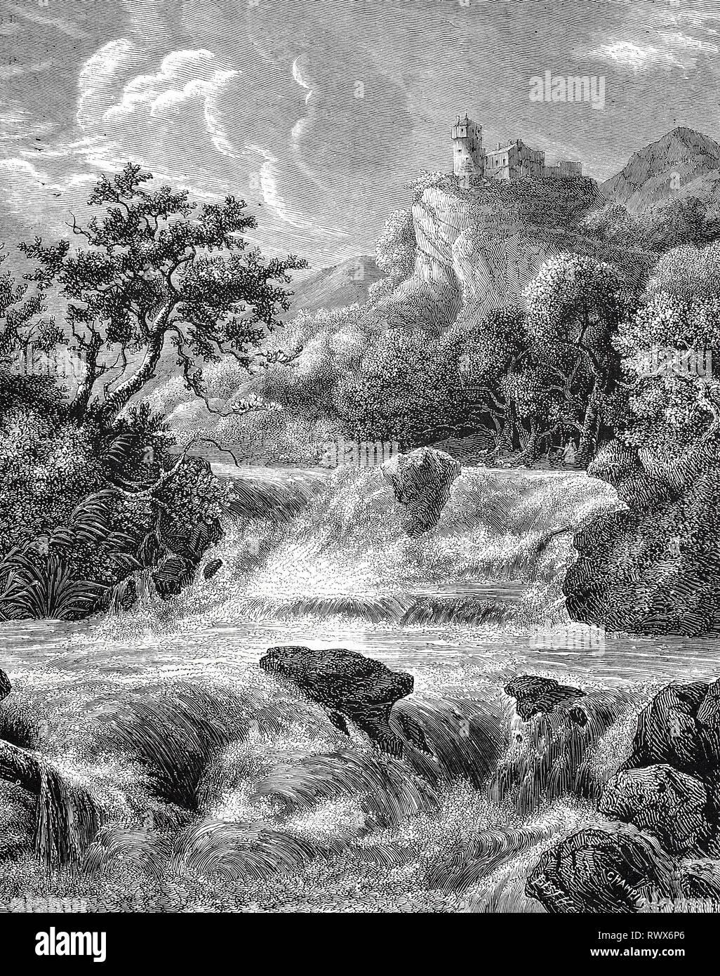 Flußlandschaft mit Burg nach einem Gemälde von Salomon van Ruysdael, geboren 1600, gestorben 1670, ein holländischer Maler  /  River landscape with castle after a painting by Salomon van Ruisdael, born 1600, died 1670, a Dutch painter Stock Photo